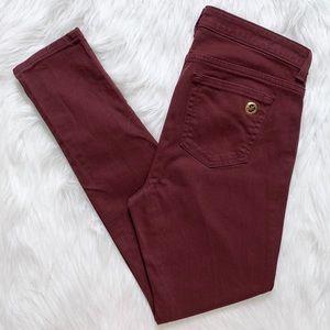 Michael Kors Bordeaux Colored Denim Skinny Jeans